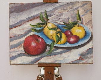 Plate with fruit: apples, lemons and plums - 12x16 inches - original painting - still life oil on canvas - gift idea