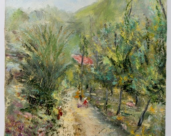 Naples Rural track - 12x16 inches - italian landscape - oil on canvas - knife painting - impressionist painting - gift idea