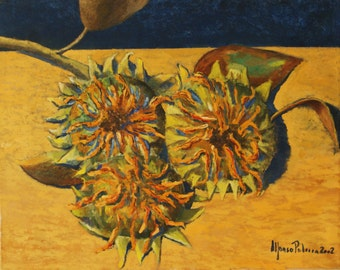 Sunflowers - Oil on canvas painting - 16x20 inches - Still Life - Intense flowers coming from the most beautiful Italian landscapes