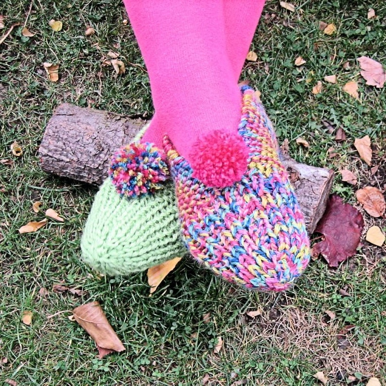 290d262bedcf8 Adult Funky Chunky Slippers - 2823 - in 8 ply-using 2 strands - in 3 sizes,  lounge slippers, slipper pattern, pdf pattern, knitted slippers