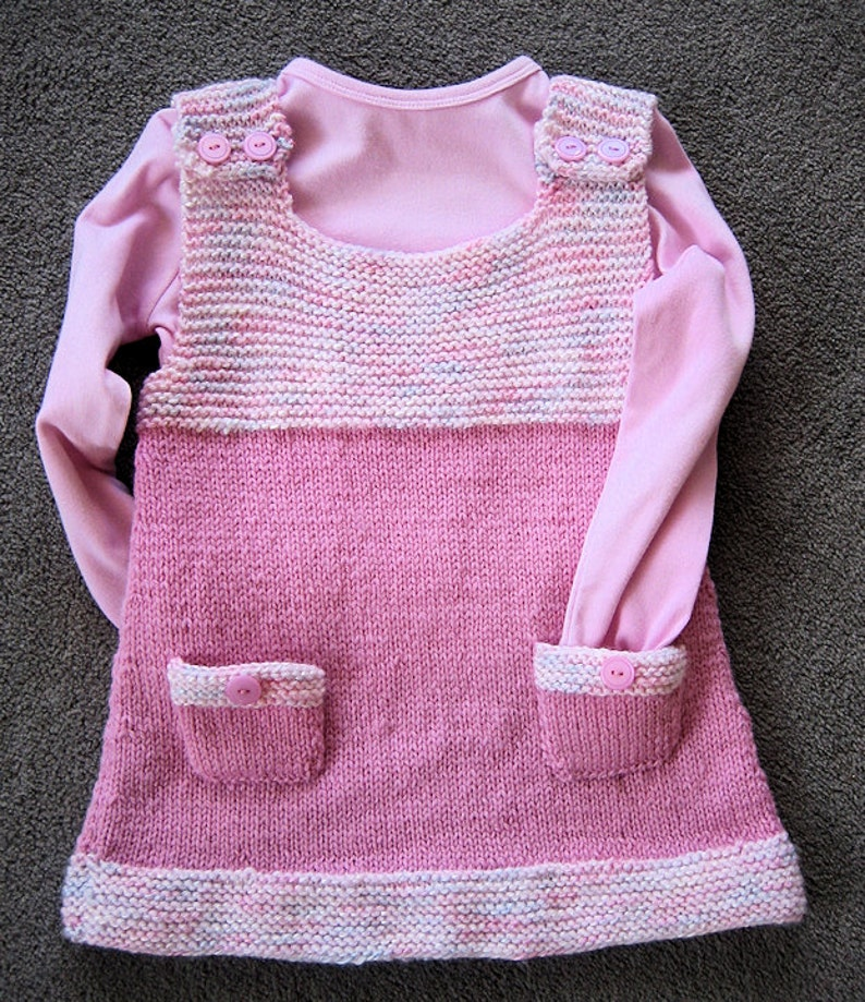 8615d3ee8906 Little GIRLS DRESS knitted in 8 ply button shoulder