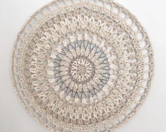 Cream Neutral Taupe White Bohemian Earthy Crochet Wall Hanging  Home Decor Decoration Design Mandala