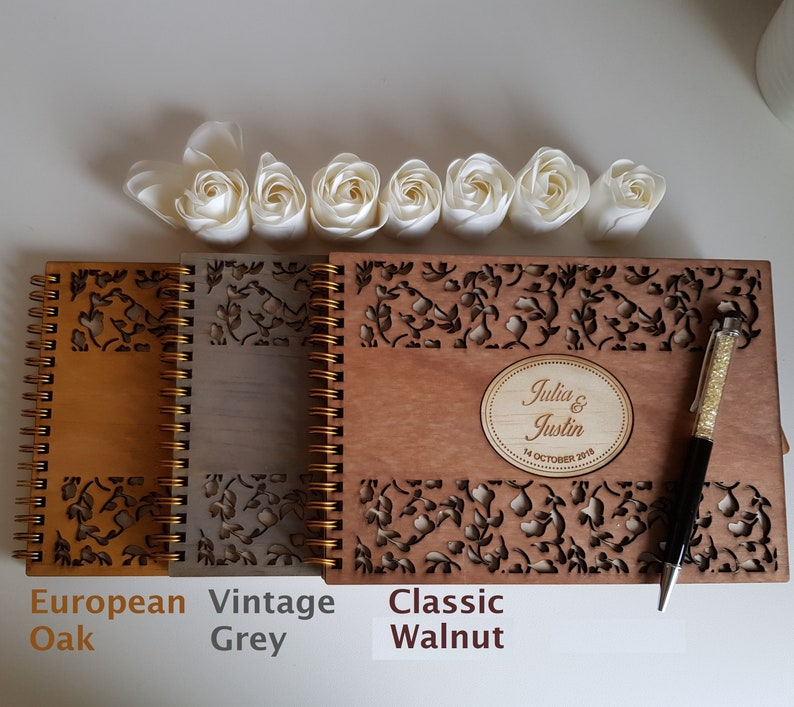 A5 size  Engagements Wedding Guest Book party varnished birthday Deluxe stained Wooden cover