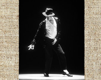 Michael Jackson photograph, black and white photo print, framed vintage photograph, King of Pop photograph, 80s moonwalker, birthday gifts