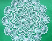 13 inch Crochet Lace Doily, Handmade White Doily, Housewarming Gift, White Table Decor, White Crochet Tablecloth, August Sale, Free Shipping