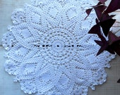 Big Crochet White Doily, 14 inch Tablecloth, White Table Decor, Housewarming Gift, Free Shipping, August Sale, Gift for Mother, Gift for Her