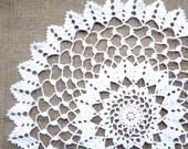 13 inch Crochet Doily, Handmade White Round Lace Doily, White Table Decoration, Housewarming Gift, Gift for Her, Free Shipping, August Sale