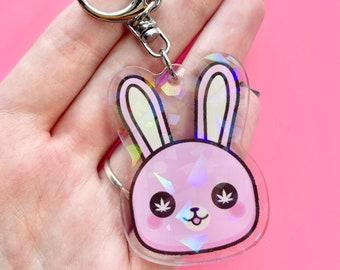 BUNNY KEYCHAIN, Stoner Gift, Stoner Keychain Gift, Bunny Lover Gift, Popular Keyring