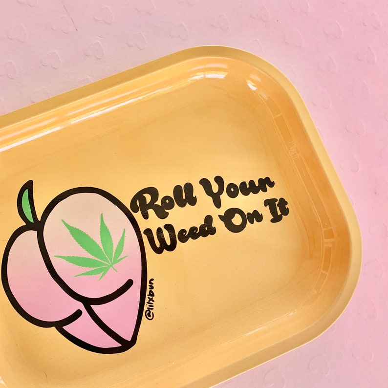 Limited Edition Roll Your Weed On It Metal Rolling Tray image 0