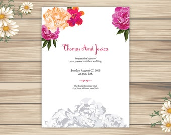 Printable Wedding Invitation | Floral Invitation Template | Editable Microsoft Word Template | Instant download | I-058