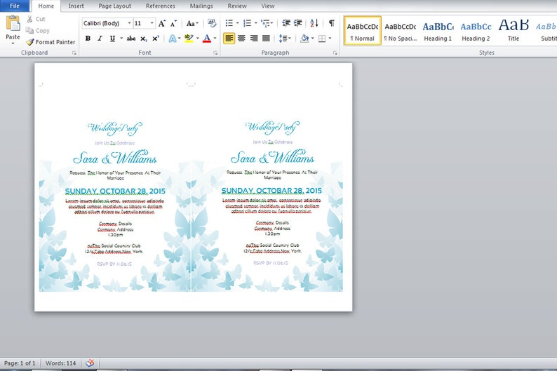 Printable Wedding Invitation Template | DIY Wedding Invitation | Editable  Microsoft Word Template | Instant download | I-109