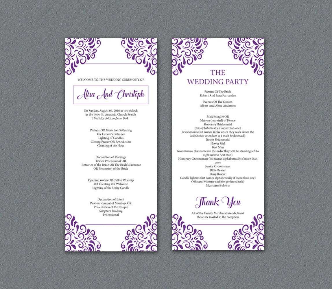 Wedding Program Template Printable Ceremony Program Template Etsy