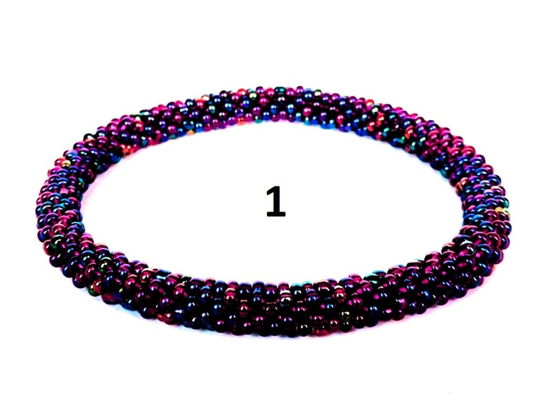 Purple Rainbow Color Beading Bracelets Beaded Bracelets Iris Copper Seed Beads Bracelet Crochet Bead Rope Bangle Beading Bracelet