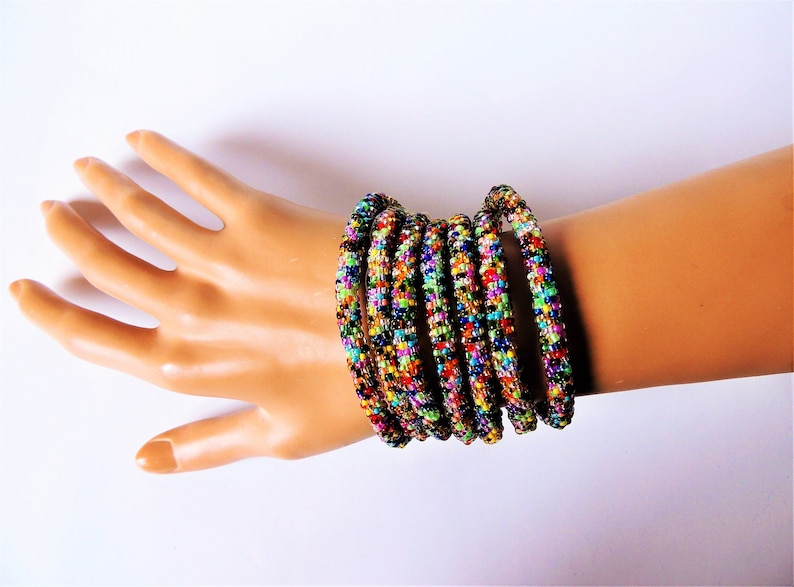 Long Bead Crochet Rope Necklace or Wrap Bracelet Colorful Multicolored Metallic Beaded Woman Jewelry Mothers Day Glass Glow Crystal