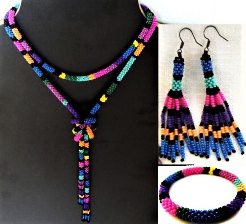 Tassel Beads Earrings Bijou Tube Crochet Beading Rope Earings Yellow Purple Turquoise Fuchsia Royal Blue Color Seed Beads Earrings