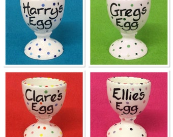 Personalised Pottery Egg Cups - Pink and Purple