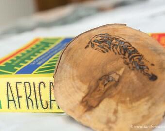 Pyrography wood slice: Zebra design