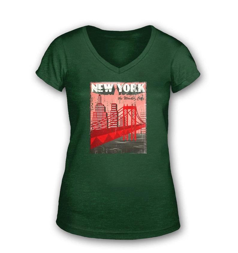 2311a3fec1a8 New York The Wonder City Distressed womens vintage v-neck | Etsy