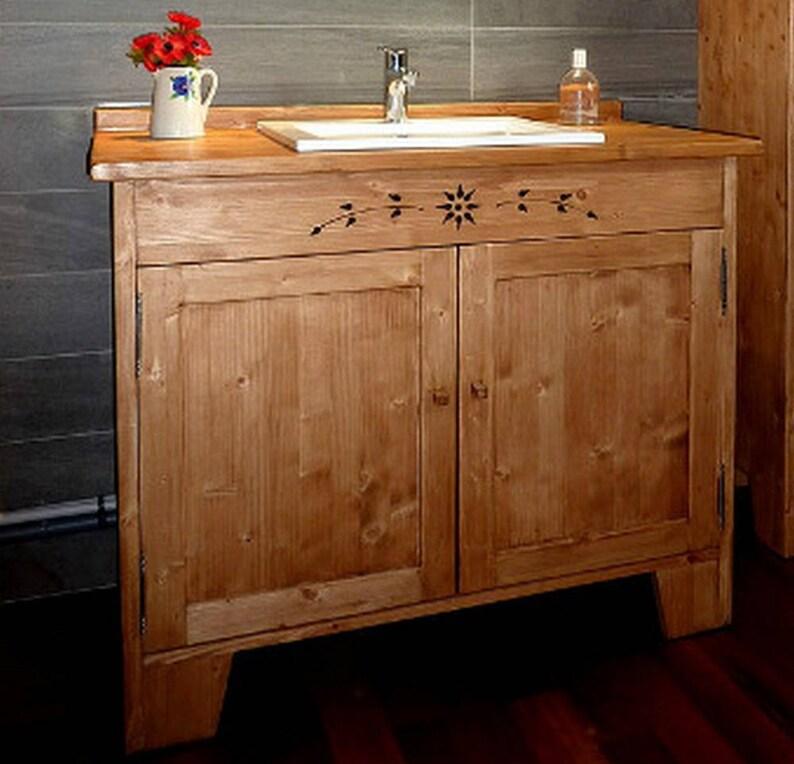 Meuble salle de bains sous vasque artisanal sur mesure en bois | Etsy
