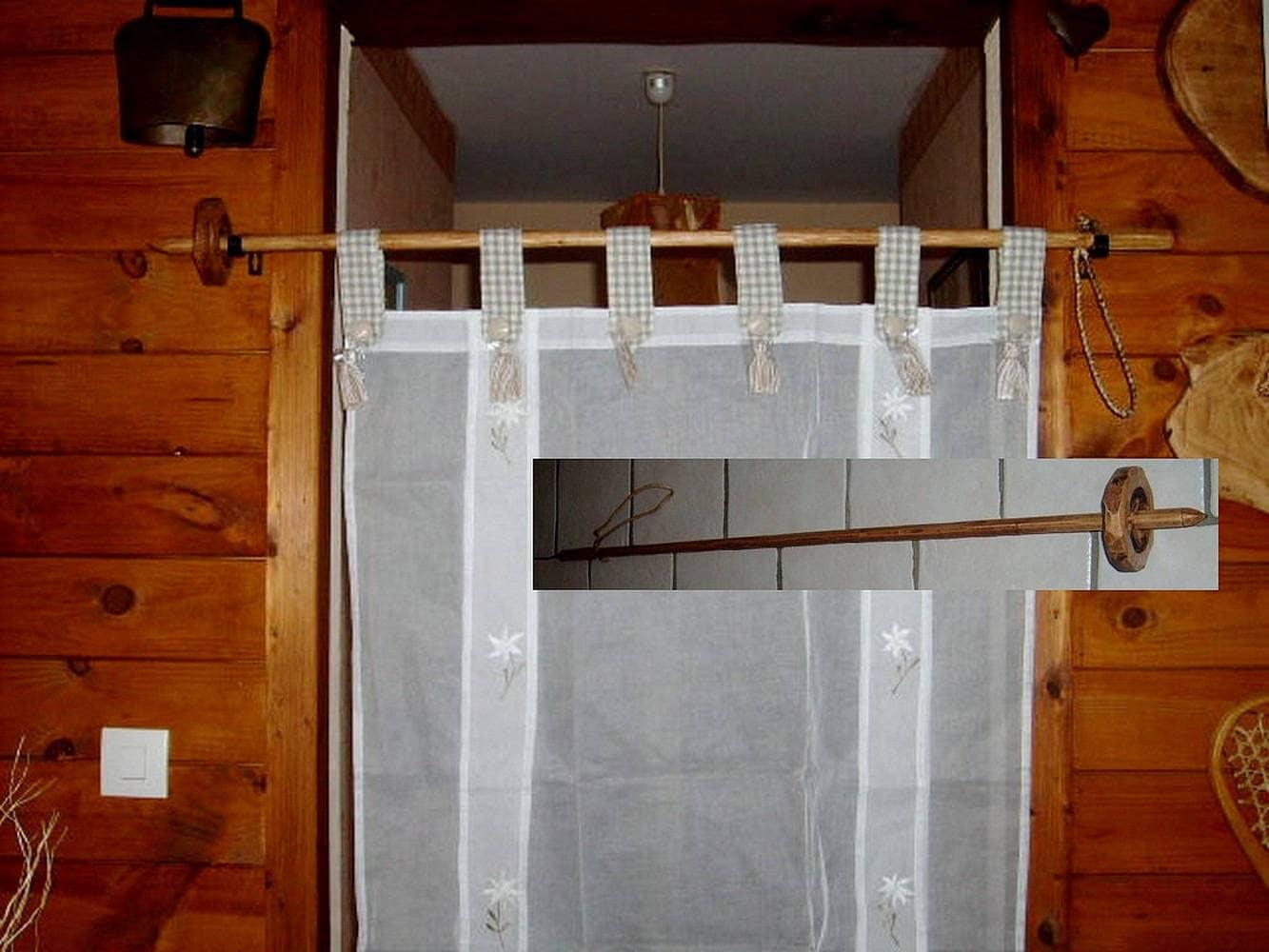 tringle rideau b ton de ski artisanal en bois 100 etsy. Black Bedroom Furniture Sets. Home Design Ideas