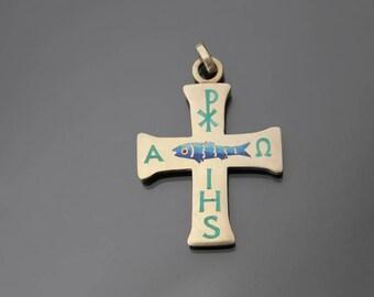 Jugendstil 900 Silver Enamel Christian ISHS Antique Cross Pendant