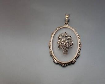 Art Deco Camphor Glass Marcasite Pendant. Silver Sterling 925, Vintage Germany