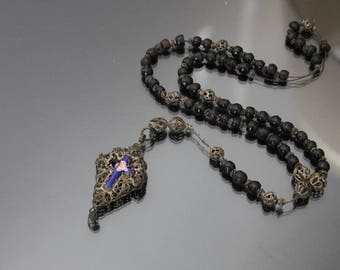 Victorian Baroque Style Rosary. Antique Filigree Enamel Crucifix Cross