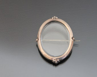 Victorian Glass Brooch Photo Locket. 800 Silver Rose Gold Plated. Antique Keepsake.