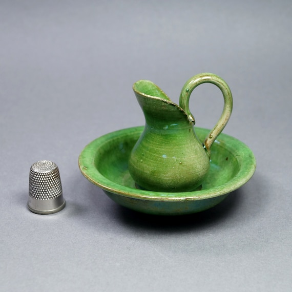 Antique Miniature Doll Wash Bowl And Jug French Pottery Toilet Wash Set  Circa 1900