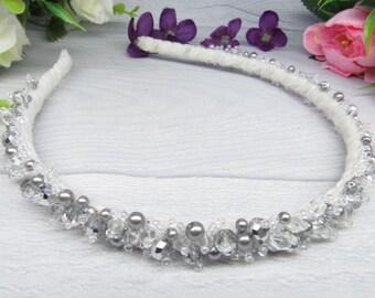 Wedding bride crown Crystal head piece Bridal fascinator Silver flower girl Headband crystal Silver bridal hair Wedding crystal tiara Silver