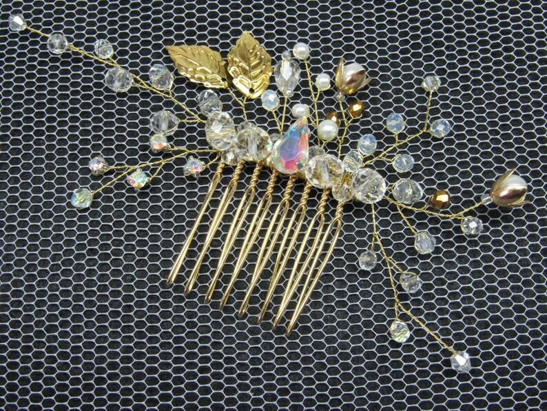 Gold wedding comb Bridal crystal comb Leaf hair comb Gold hair vine wedding fascinator Leaf crystal comb hair gold bride vine wedding comb