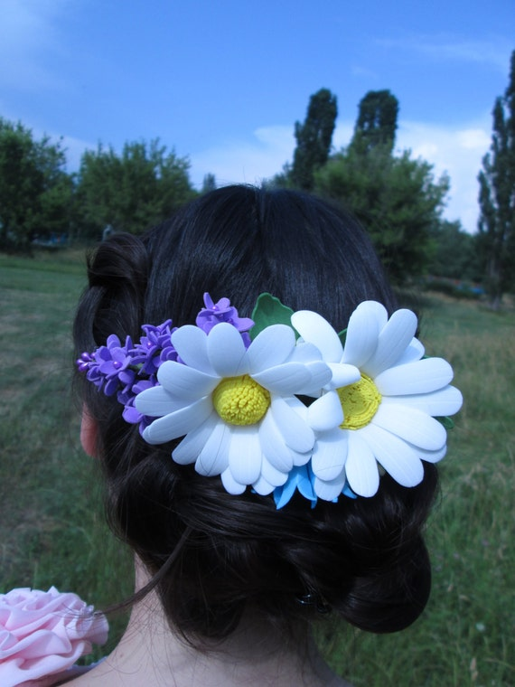 wedding comb flower romantic flower comb bridal floral hair etsy