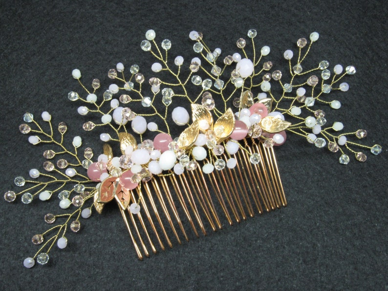 Vine wedding comb crystal bridal headpiece Gold hair vine comb image 0