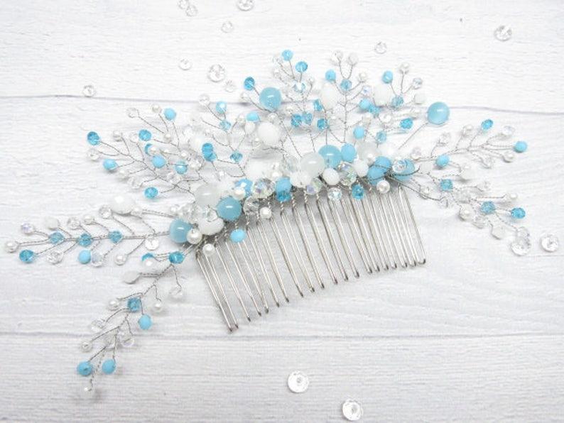 Pearl comb hair Blue comb bridal hair vine crystal Beach wedding fascinator Bridal hairpiece white Crystal hair pin bride long vines blue