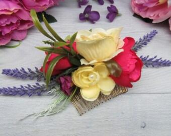 Floral wedding hair Bride headpiece Woodland bridal comb Flower hair comb Bridal rustic clip Hair bride comb Wedding floral comb Rose bridal