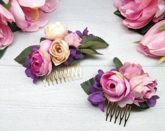 Bridal comb hair Flower bride comb Flower wedding comb Girl comb hair Set comb wedding Flower girl comb Girl gift comb Wedding pink bride