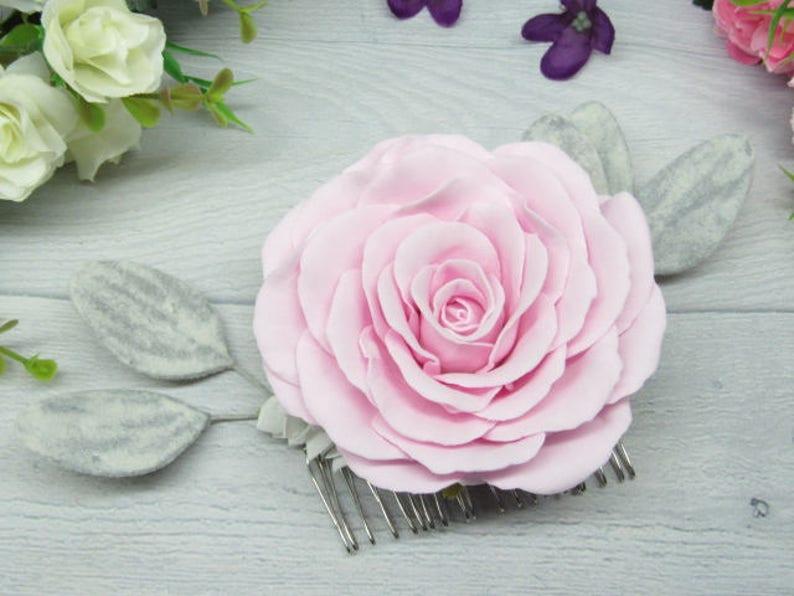 Wedding hair combs Roses bridal clip Blush pink flower Bride image 1