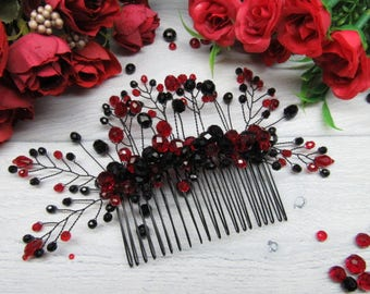 Bridal wedding comb Gift for bride hair Wedding crystal comb Hair piece vine Red bridal comb Wedding hair pieces Bridesmaid comb hair Red