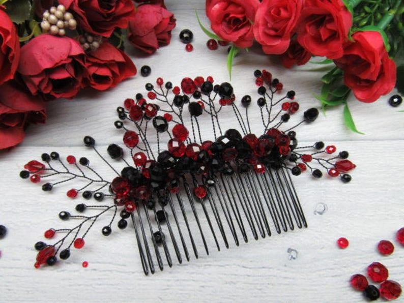 Bridal wedding comb Gift for bride hair Wedding crystal comb image 0