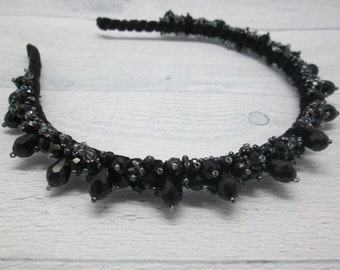 Black hair accessory Black crown Party jewellery Crystal headbands Halloween wedding Halloween jewellery Black bridal hair Halloween costume