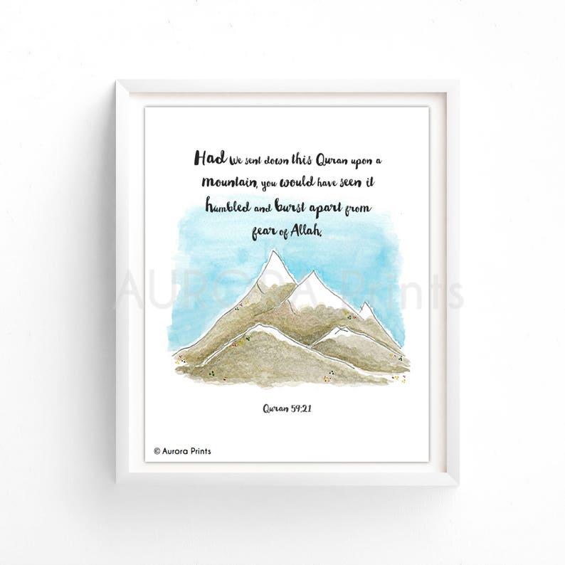Humbled Mountains - Islamic Framed Art Print of Quran Verse 59:21