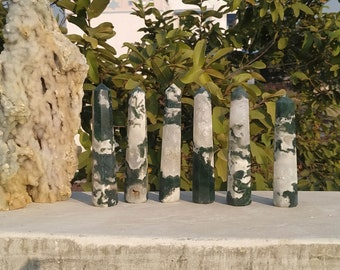 Wholesale Moss Agate Obelisk Lot of 6 Pieces  Natural Druzy Moss Agate Crystal Healing Wand