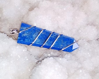 Lapis Lazuli Wire Wrapped Flate Point Pendant /Healing Point Pendant