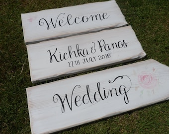 Fairtytale wedding signpost sign and arrows This way to the I do's & kiss, Welcome to our wedding Happily ever after starts here I do we did