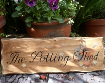 The Potting Shed sign Custom hand illustrated wood signs for home & garden. Unique Fathers Day Birthday, Christmas gifts for Dads Grandad.