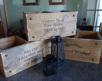 Custom personalised storage box. Tinkers Nook 1 Bag End Potions & Spells No Muggles book Box Game of Thrones DVD Box Lord Of the Rings Crate