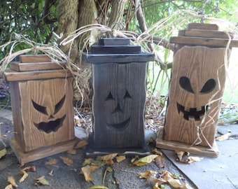 Rustic wood Jack o lantern, Custom Halloween wood pumpkin Handmade Halloween lantern Halloween decorations  Trick or Treat wood lantern