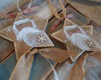 Saint Nicholas primitive Christmas star decorations. Freestanding, hanging for the tree, mantel, door handle or table. Bespoke, personalised
