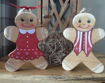 Wood Gingerbread Man Tree / Mantel Decoration My first Christmas keepsake Christmas Stocking Decor Personalised Bauble Gingerbread ornament