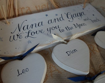 Personalised Love you to the Moon and back wood sign. Nursery decor. Handmade newborn gift, personalised gift for a grandparent Nana grandad